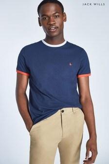 Jack Wills Navy Chilton Ringer T-Shirt