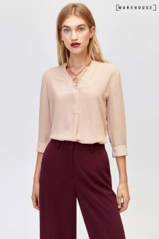 Warehouse Light Pink Open Neck Blouse