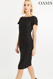 Oasis Black Formal Shift Dress