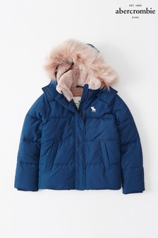 Abercrombie & Fitch Blue Faux Fur Padded Coat