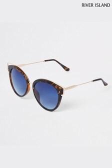 River Island Brown Print Smoke Kaia Cat-Eye Sunglasses