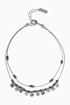 Coin And Bead Detail Anklet