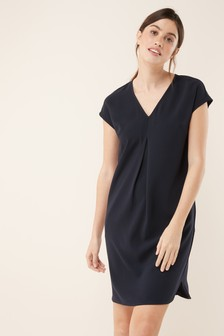 Front Pleat Shift Dress