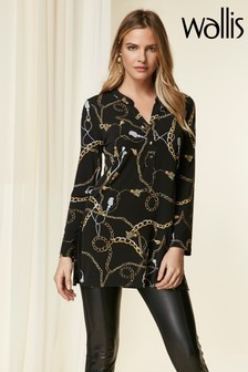 Wallis Black Tassel Chain Shirt