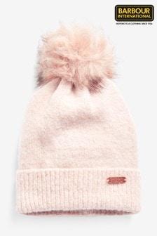 Barbour® International Pink Sparkle Pom Pom Beanie Hat