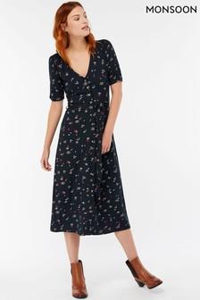 Monsoon Navy Lulu Print Dress
