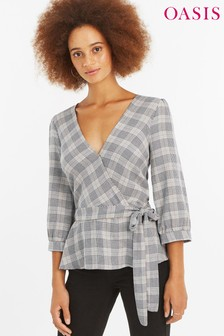 Oasis Grey Prince Of Wales Check Wrap Top