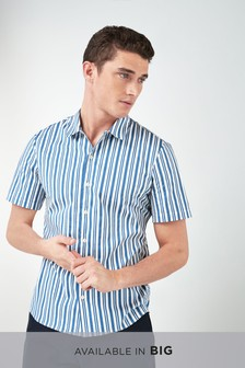 Short Sleeve Stripe Revere Shirt