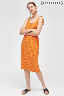 Warehouse Tie Shoulder Dotty Seed Cami Midi Dress Orange