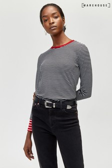 Warehouse Red Contrast Stripe Cuff Top