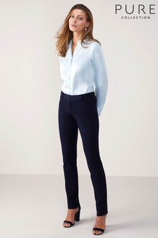 Pure Collection Blue Cotton Blend Stretch Straight Leg Jean