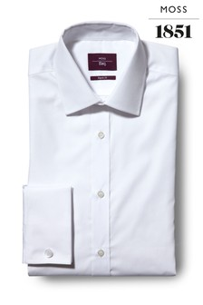 Moss Esq Regular Fit White Double Cuff Non Iron Shirt