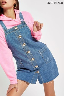 River Island Light Wash Dungaree Dress