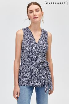 Warehouse Blue Spiral Print Knot Front Top
