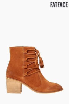 FatFace Brown Tansley Tassle Block Heel Boot
