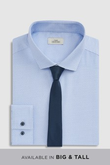 Geo Print Slim Fit Shirt And Tie Pack