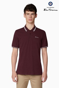 Ben Sherman Red Script Tipped Pique Polo