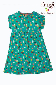 Frugi Green Spot Organic Cotton Slub Jersey Dress