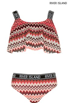 River Island Pink Zig Zag Neon Shelf Elastic Bikini