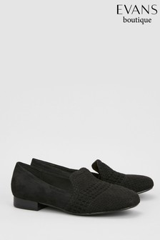 Evans Black Extra Wide Fit Weave Loafer