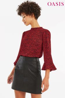 Oasis Red Animal Fluted Sleeve Top