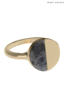 Mint Velvet Gold Tone Blocked Stone Ring