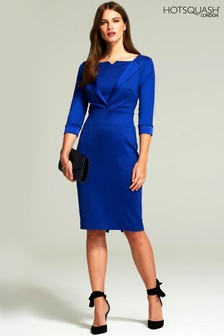 HotSquash Royal Blue Tuxedo Ponte Dress