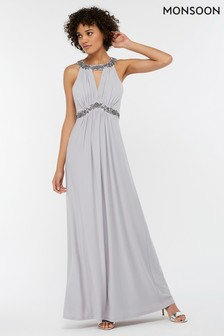 Monsoon Ladies Silver Isabeli Embellished Jersey Maxi Dress