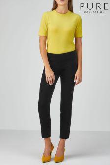 Pure Collection Black Velvet Ankle Length Trouser