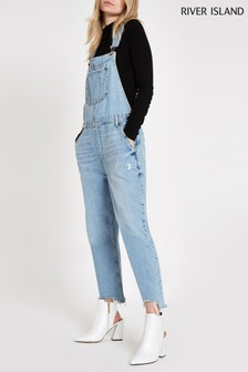 River Island Light Wash Dungaree