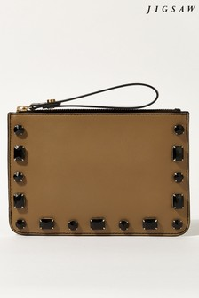 Jigsaw Brown Leather Embellished Clutch