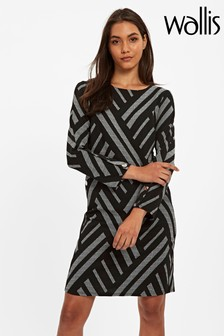 Wallis Black Geo Jacquard Dress