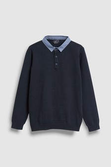 Woven Collar Knitted Polo (3-16yrs)