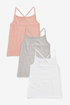 19de12918 Multi Pointelle Vests Three Pack (3-16yrs)
