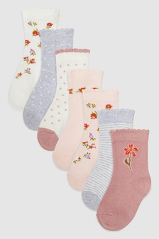 Pretty Seven Pack Socks (Younger)