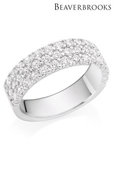 Beaverbrooks Silver Cubic Zirconia Three Row Ring