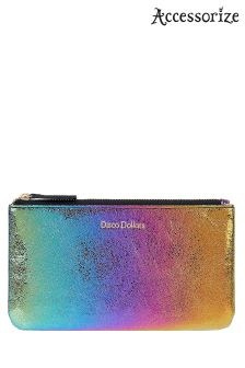 Accessorize Metallic Disco Dollars Zip Top Coin Purse