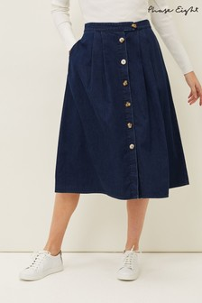 Phase 8 Blue Lusia A- Line Denim Skirt