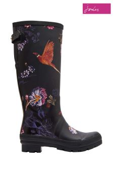 Joules Black Floral Welly Print Tall Welly