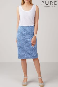 Pure Collection Blue Cashmere Skirt
