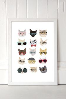 Cats in Glasses by Hanna Melin Framed Print