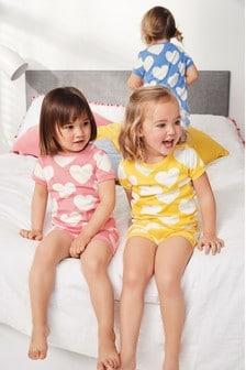 Три уютные пижамы из топов и шортов с принтом сердец (9 мес. - 8 лет)
