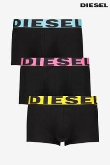 Diesel® Black Logo Waist Trunks 3 Pack