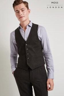 Moss London Skinny Fit Khaki Donegal Waistcoat