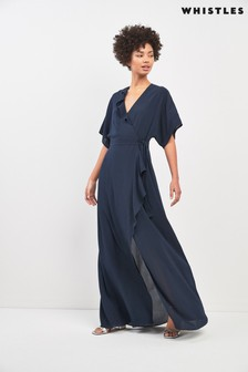 Whistles Navy Nova Frill Wrap Maxi Dress