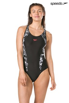 Speedo® Black Printed Laneback Swimsuit