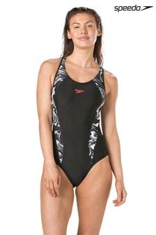طقم سباحة Laneback مطبوع أسود من Speedo®