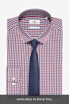 Cotton Regular Fit Single Cuff Check Shirt And Tie Set