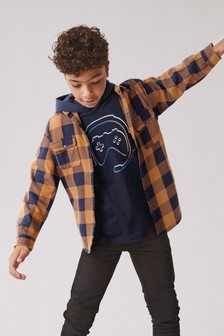 Check Shirt With Long Sleeve Hooded Top (3-16yrs)