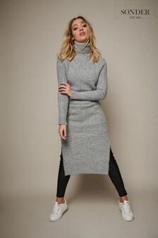 Sonder Studio Grey Knitted Overlay Split Dress